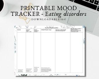 Mood Tracker/Worksheet/Eating Disorder Management Worksheet/A4 PDF