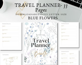 Printable Travel Planner/Travel Journal/Travel Itinerary/Travel budget planner/Holiday Planner/A4/US Letter