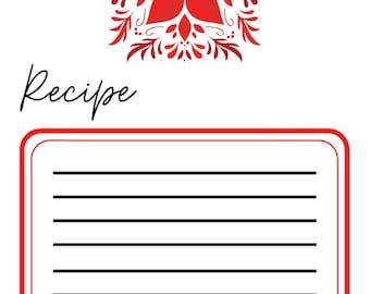 Printable Christmas Recipe Card Template Bundle