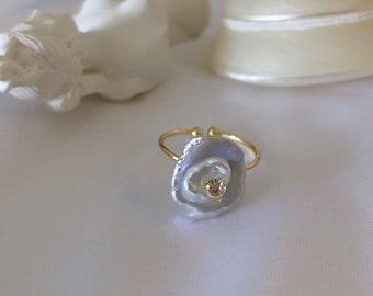 Blue Silver Fresh Water Rose Petal Pearl Adjustable Ring, keshi pearls, everyday wear, Petal Pearl, adjust ring, pearl ring, pearls ring