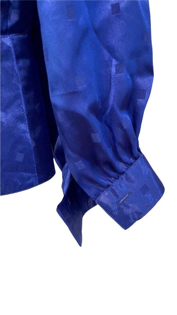 Vintage 80s Nilani Polyester Blouse Blue Size 8, … - image 6