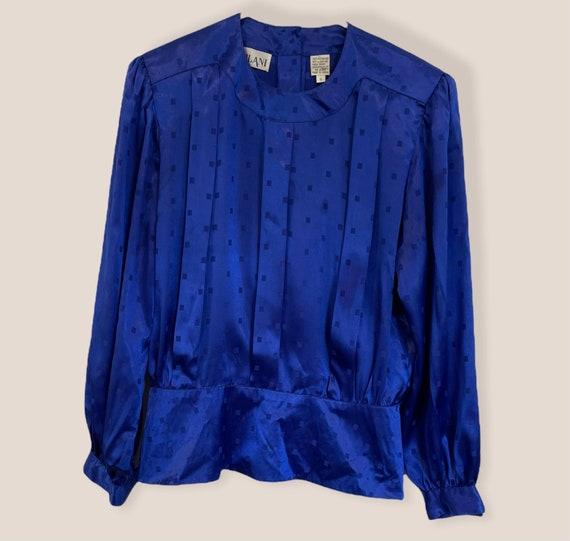 Vintage 80s Nilani Polyester Blouse Blue Size 8, … - image 2