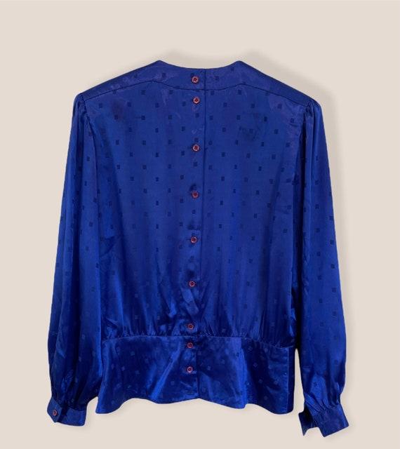 Vintage 80s Nilani Polyester Blouse Blue Size 8, … - image 1