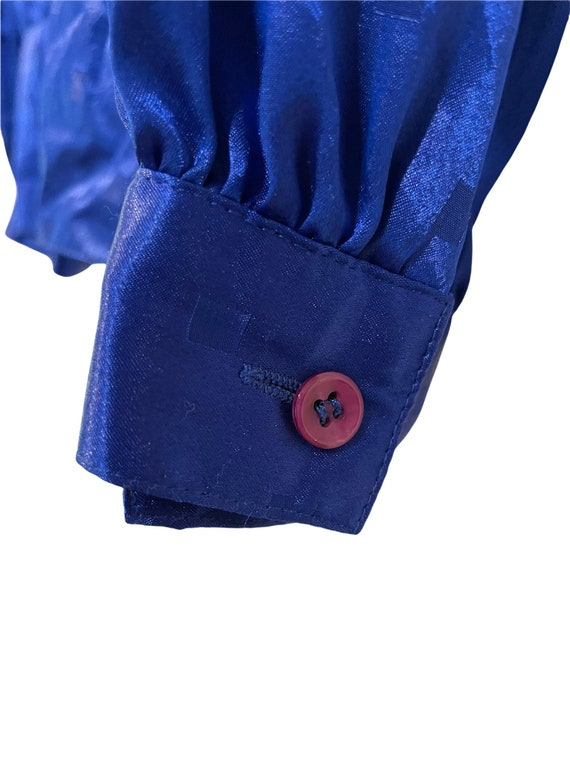 Vintage 80s Nilani Polyester Blouse Blue Size 8, … - image 4