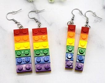 Lego Shaped Rainbow Building Block Dangle Drop Earrings, Pride, Toy Brick Resin, 925 Sterling Silver Hooks