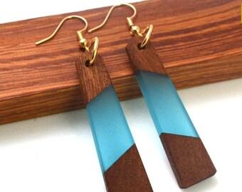 Blue Resin Wood Earrings, Handmade Statement Piece, Geometric Acrylic Jewelry, Fashion Savvy, Bold Style Jewellry