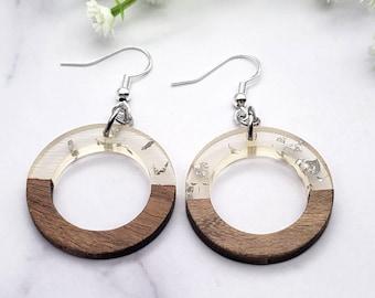Resin & Walnut Wood Dangle Drop Earrings, Silver Foil Circle Geometric Acrylic 925 Sterling Silver Jewelry