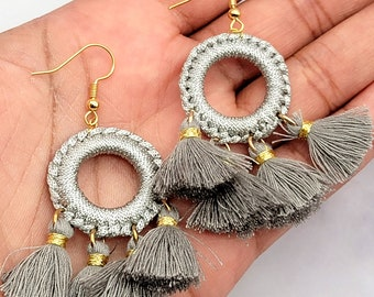Tassel Dangle Drop Earrings, Stainless Steel Findings, Statement Piece, Large Light Weight Colorful Jewelry