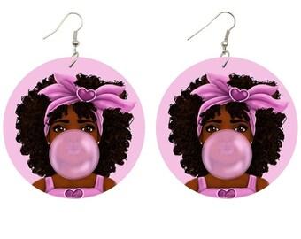 Young Queen Wooden Earrings, Black Girl Magic, Bubble Gum, Melanin, Dangle Drop Statement Piece, Ethnic Cultural Fashion, Handmade for Women