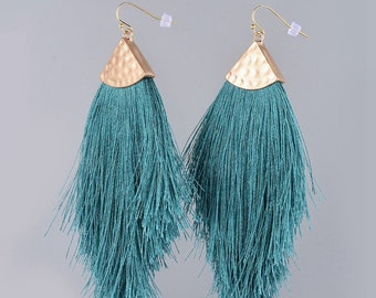 Tassel Fringe Earrings, Hammered Metal, Statement Piece, Dangle Drop Large Light Weight Colorful Jewelry