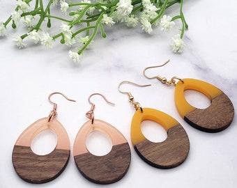 Resin & Walnut Wood Dangle Drop Earrings, Teardrop Geometric Acrylic 925 Sterling Silver Rose Gold Stainless Steel Jewelry