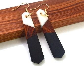 Resin Wood Earrings, Handmade Statement Piece, Dangle Drop Geometric Acrylic Jewelry, Fashion Savvy, Bold Style Jewellry