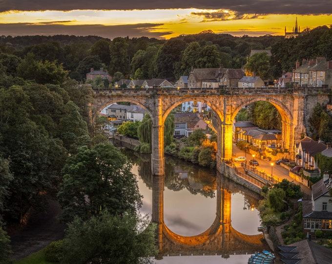 Knaresborough Viaduct Sunset Reflection Photography Canvas, Print Master Of Photography