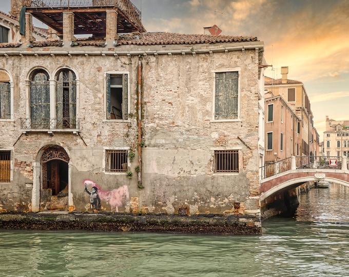 Venice Italy Wall Art, Canvas, Fine Art Print Travel Photography, Banksy Migrant Child, Europe, Italian Wall Decor Master Of Photography