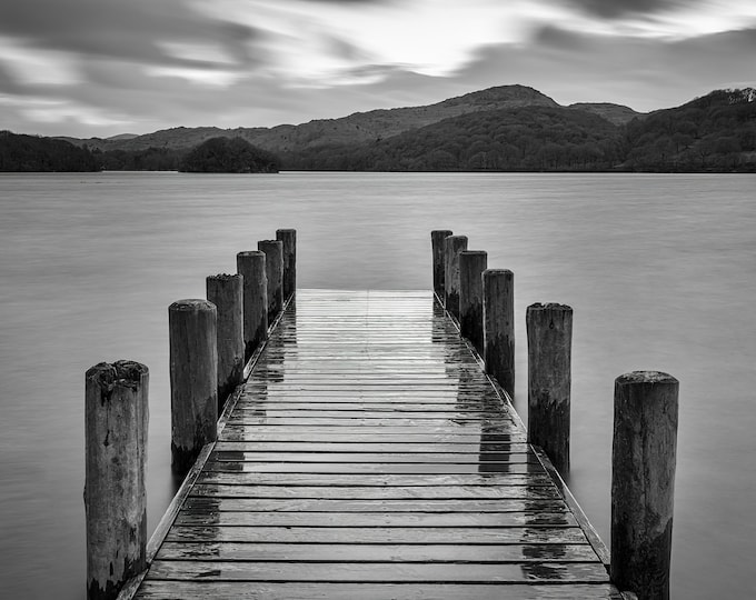Wet Jetty Reflections Coniston Water Lake District Cumbria UK Wall Fine Art Canvas Print Landscape Photography Christmas gifts