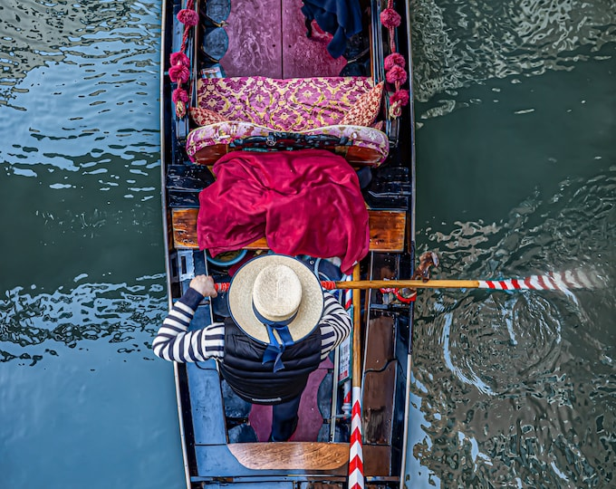 Romantic Traditional Gondolier with his Gondola in Venice, Italy,  Print or Canvas Print Master Of Photography