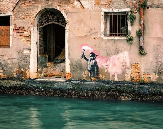 Canvas Print Banksy Migrant Child Wearing Lifejacket Holding Neon Pink Flare Banksy Graffiti British Urban Street Art Unofficial in Venice