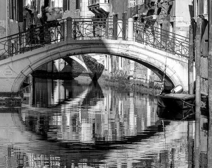 Venice Italy Wall Art, Canvas, Fine Art Print Travel Photography, Venice Canal Photo, Europe, Italian Wall Decor – Black & White