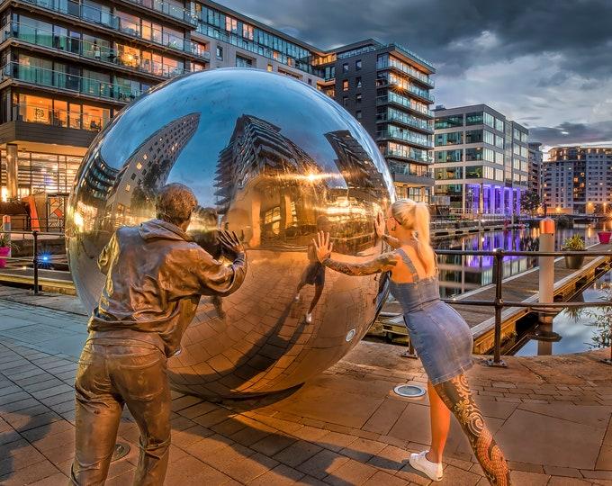 A Reflective Motion Canvas or Print Metal Ball Sculpture Clarence Dock Dock Urban Art Leeds