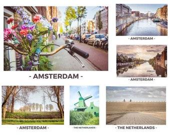 6 Postcards Set - Amsterdam and the Netherlands / Postcard / bike / Channel / windmill / Holland / Zaanse schaans / Amstel / Flowermarkt