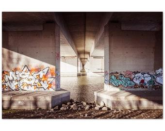 Graffiti under bridge in Amsterdam / Netherlands / Holland / Streetart / Architecture / Amsterdam-Rijnkanaal - Premium Matte Paper Poster