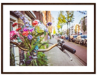 Bikes and flowers in the streets of Amsterdam / Holland / Netherlands / bicycle  - Premium Matte Paper Wooden Framed Poster