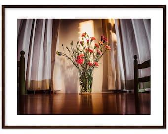 Flower bouquet on a table at sunset / still life / flowers / interiors / Netherlands / Holland - Premium Matte Paper Wooden Framed Poster