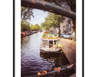 House boat on a canal in Amsterdam / Netherlands / Holland / Gracht / Architecture - Premium Matte Paper Poster