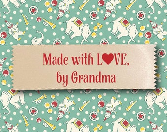 Made with love tag, Made by Grandma quilt tag, Made by you quilt tag