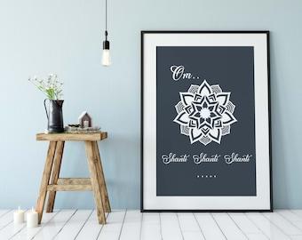 Om Shanti Yoga Print, Mandala Printable Art, Yoga and Meditation Wall Art, Instant Digital Download, Yoga Studio Wall Art Hanging