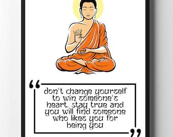 Buddha Quote, Buddha Print, Buddha Wall Art, Zen Art, Buddha Quote Poster, Yoga Print, Yoga Art, Yoga Studio Decor