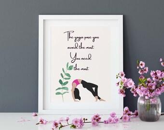 Yoga Quote, Yoga Print, Yoga Studio Decor, Wall Decor, Yoga and Meditation Wall Art, Digital Download