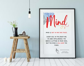 Sadguru Quote On Mind, Sadguru Sayings Printable, Yoga Quote Printable, Meditation Quote, Yoga Studio Decor, Wall Decor Art Piece