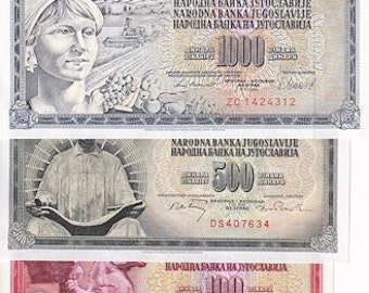 Yugoslavia 1965-1986 > 5/10/20/50/100/500/1000, Banknote 7 pcs. UNC. -Foreign World Currency/Banknotes -- Collection Money