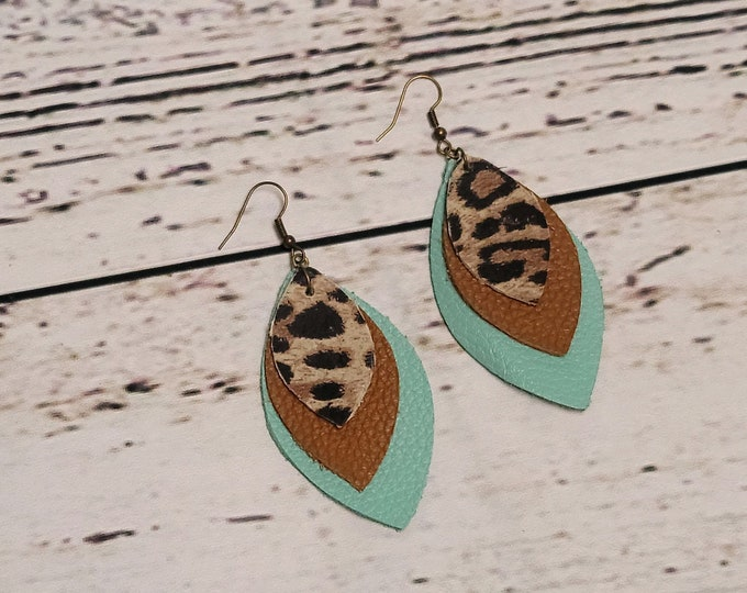 Turquoise and Leopard Leather Layered Petal Earrings