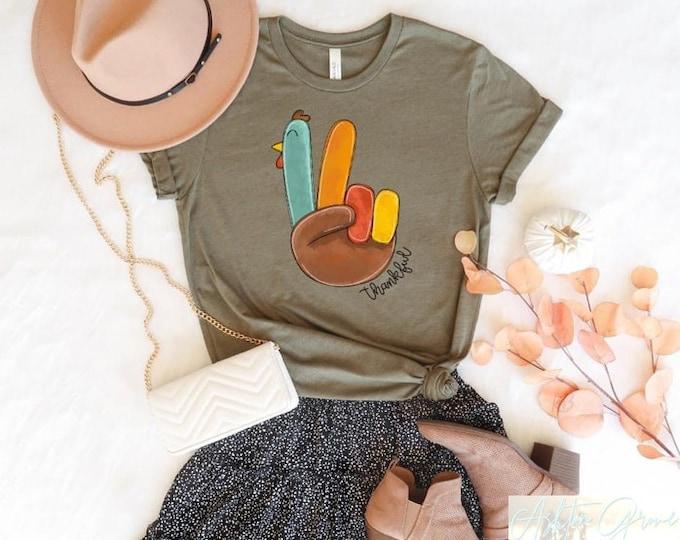 Thankful Peace Fingers Turkey Tee