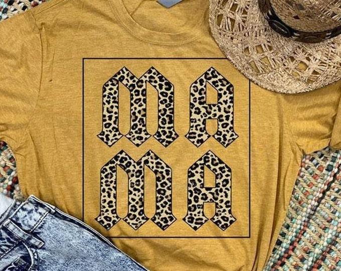 Leopard Print Mama Tee