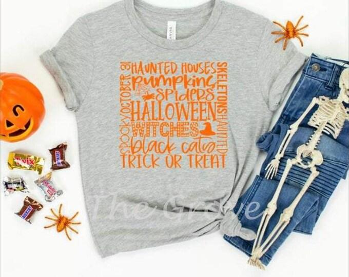 Halloween Word Art Graphic Shirt