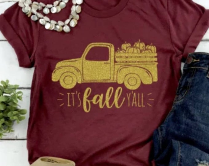 It's Fall Y'all, Gold Truck Tee