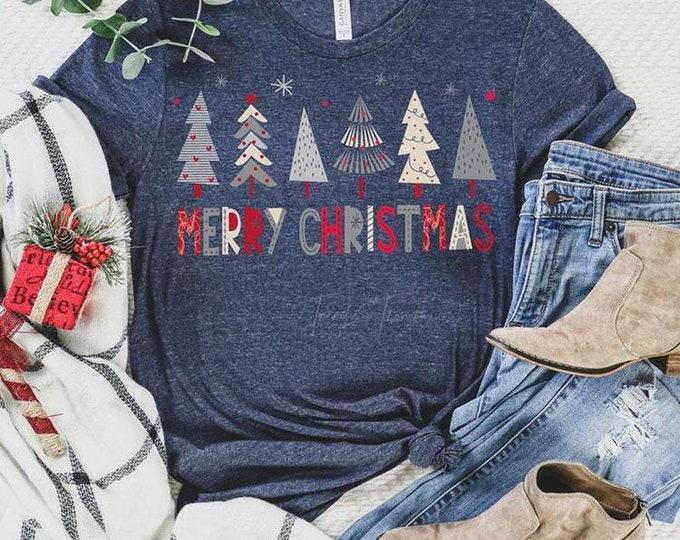 Grey Whimsical Christmas Trees Tee