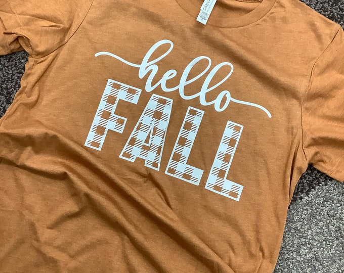 Hello Fall Buffalo Plaid Tee
