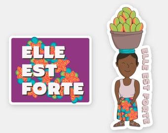"Elle Est Forte sticker   ""She Is Strong"" sticker   illustration decal souvenir die cut vinyl sticker women womxn africa"