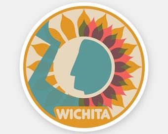 Wichita, Kansas sticker   3.25x3.25 inches   illustration hometown decal souvenir die cut vinyl sticker