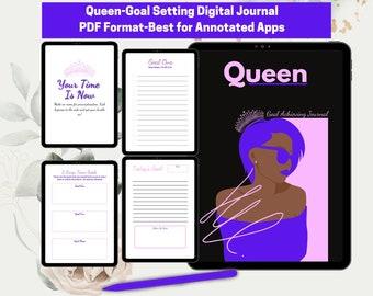 Queen-Goal Achieving Journal I Black Queen I Digital Journal I GoodNotes Journal Goals Journal I Writing Journal