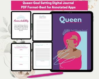 Queen-Goal Achieving Journal I Black Queen I Digital Journal I GoodNotes Journal I Goals Journal I Writing Journal