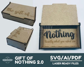 The Gift Of Nothing 2.0, Laser Cut file, for glowforge, beambox, svg, Christmas present, birthday gift, nothing more, nothing less,