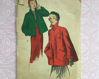 Advance 5446 | size 13 | bust 31 | vintage 1940s sewing pattern | short swing coat jacket with pockets and collar | COMPLETE