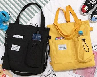 Canvas Bag With Pocket One Shoulder Slung