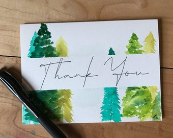 Hand Painted Thank You Card- Green Trees