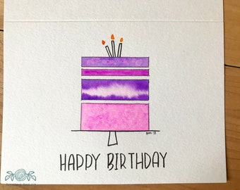 Hand Painted Birthday Cake Card